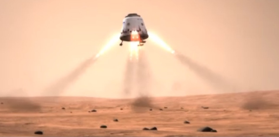 This still from a SpaceX mission concept video shows a Dragon space capsule landing on the surface of Mars. Image credit SpaceX.