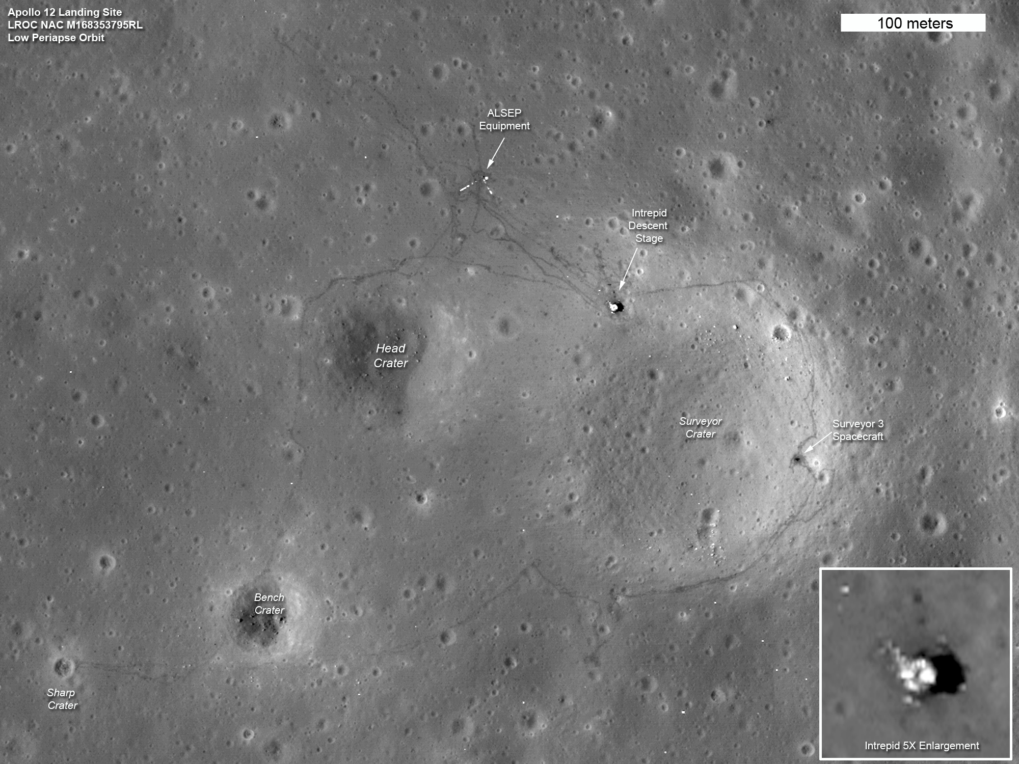 Apollo 12 landing site, taken from NASA&#039;s Lunar Reconnaissance Orbiter in 2011