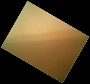 First Color Image of the Martian Landscape from Curiosity