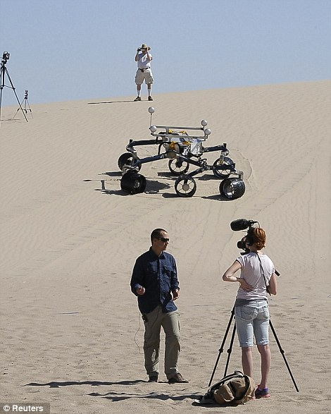 "Matt Heverly during testing of rover double ""Scarecrow"" in the desert near Death Valley. Source: Daily Mail UK"