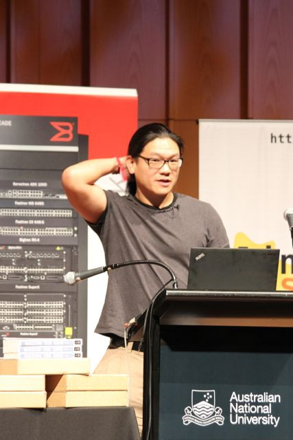 "Andrew ""bunnie"" Huang (@bunniestudios) at LCA2013: ""Do what it takes to solve the problem, and no more"". Photo by @kinshasha on Twitter"