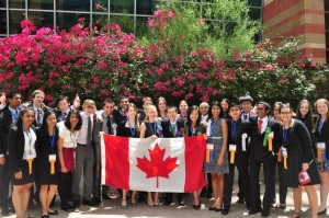"""Team Canada singing """"O Canada"""" after the grand awards ceremony at the Intel International Science and Engineering Fair."""