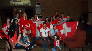 After the opening ceremonies, Team Canada met with students from Australia, Turkey and Switzerland in the hotel lobby.