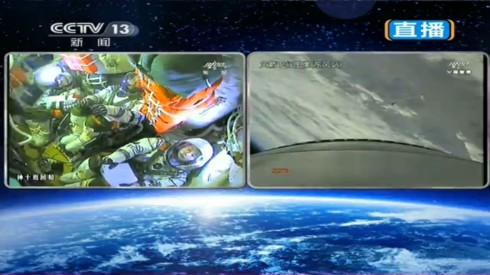 Image of the interior of Shenzhou 10 after launch. China TV demonstrates its new openness and confidence.