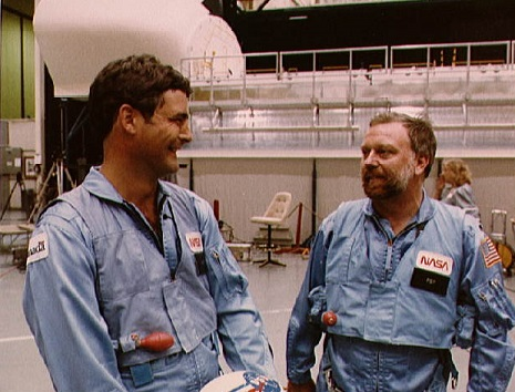 Paul Desmond Scully-Power (right) with fellow STS-41 astronaut Marc Garneau, a Canadian. Credit: NASA