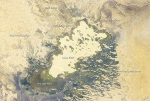 "Lake Fitri, an endorheic or ""terminal"" lake in the southern Sahara Desert that is shrinking due to climate change. Credit: NASA"