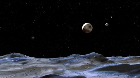 Artist illustration of Pluto (centre) from one of its small moons. The largest moon Charon is on the right. Credit: NASA, ESA and G. Bacon (STScI)
