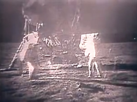 Australia's Parkes Observatory received the first transmissions of human steps on the moon in 1969. Credit: NASA/YouTube screenshot