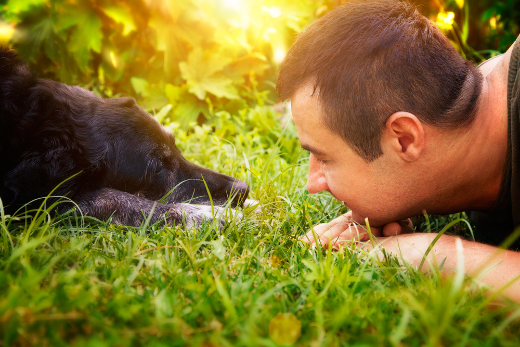 dog-owner-gazing
